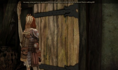 First I intimidate the drunken blacksmith into opening the door.