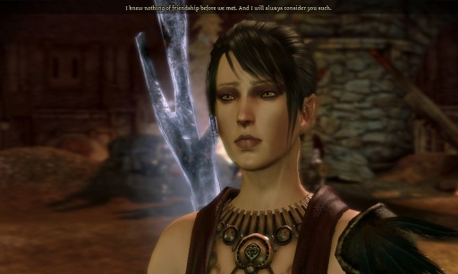 "Morrigan's farewell: ""I knew nothing of friendship before we met. And I will always consider you such."" Awww I love her."