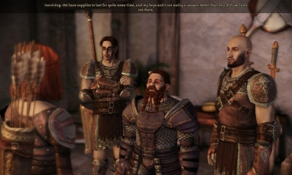 Then I intimidate the dwarven warrior into helping protect the village.