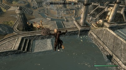 Jumping into the pool outside Dragonsreach every time I pass it.