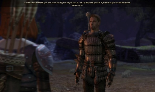 Somehow Alistair is not upset I just killed a woman.