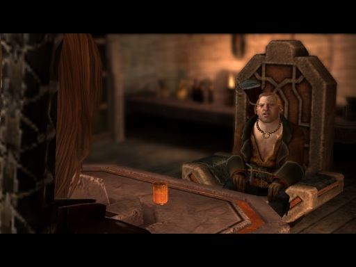 13 Varric's chest hair sitting in a throne-y chair
