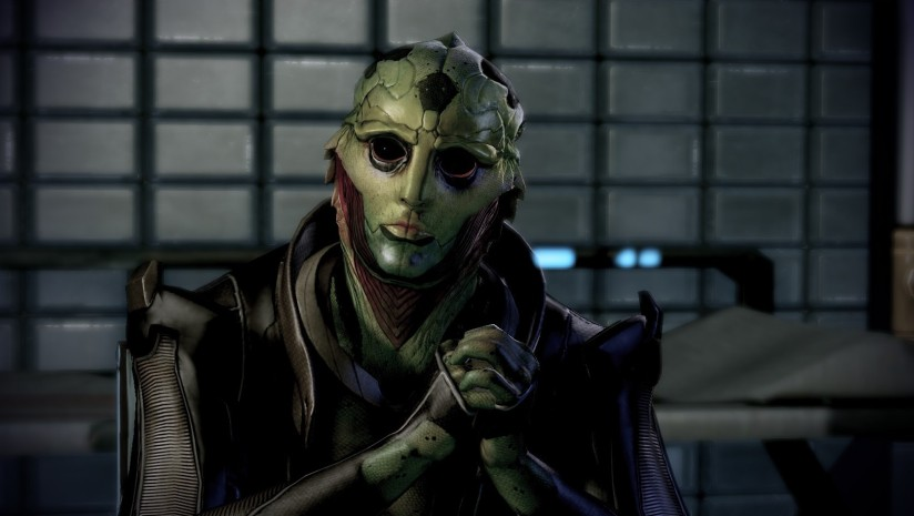 Thane sitting with folded hands in Mass Effect