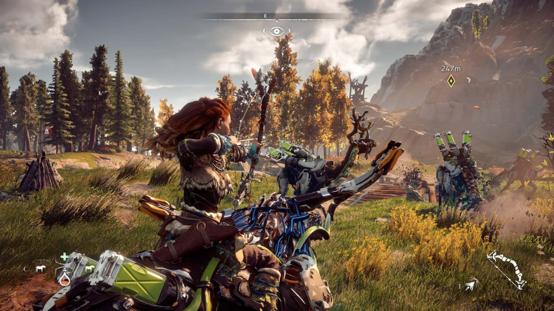 Aloy drawing her bow to shoot a machine in Horizon Zero Dawn