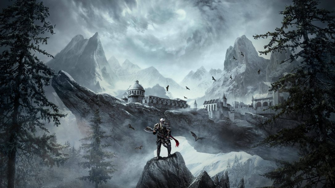 ESO character standing in front of dramatic landscape