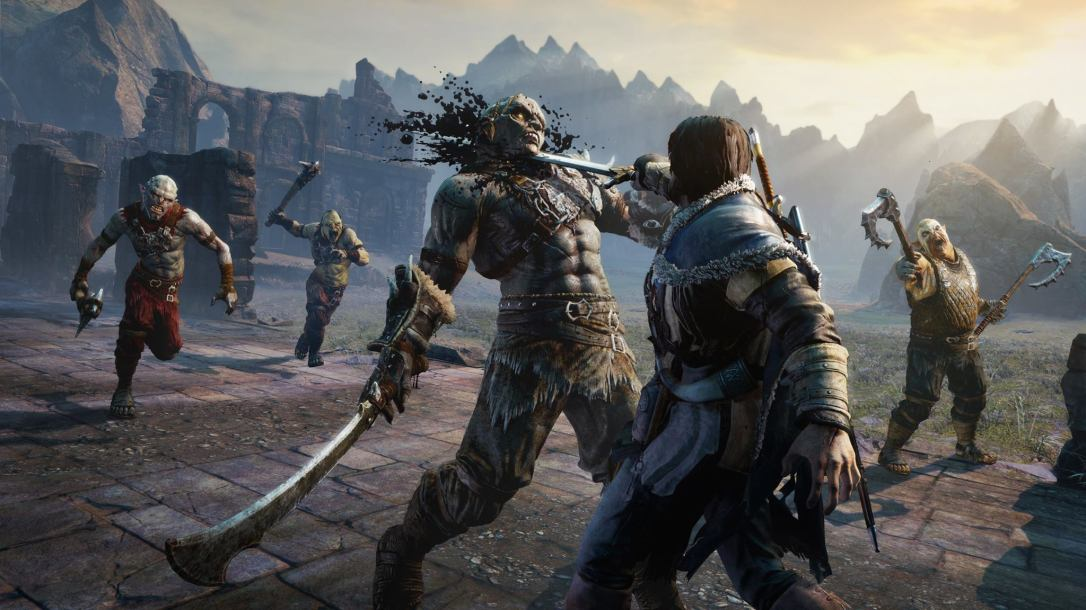 Talion slicing off an orc's head in Shadow of Mordor