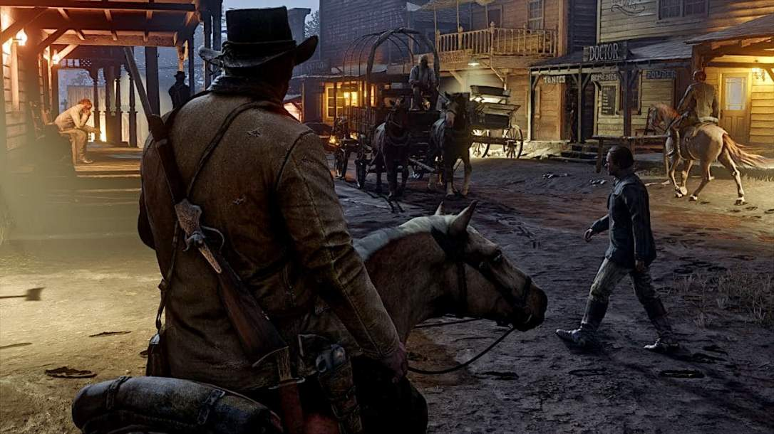 Arthur Morgan entering town on his horse in Red Dead Redemption 2