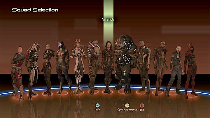 Mass Effect 2 squad selection screen