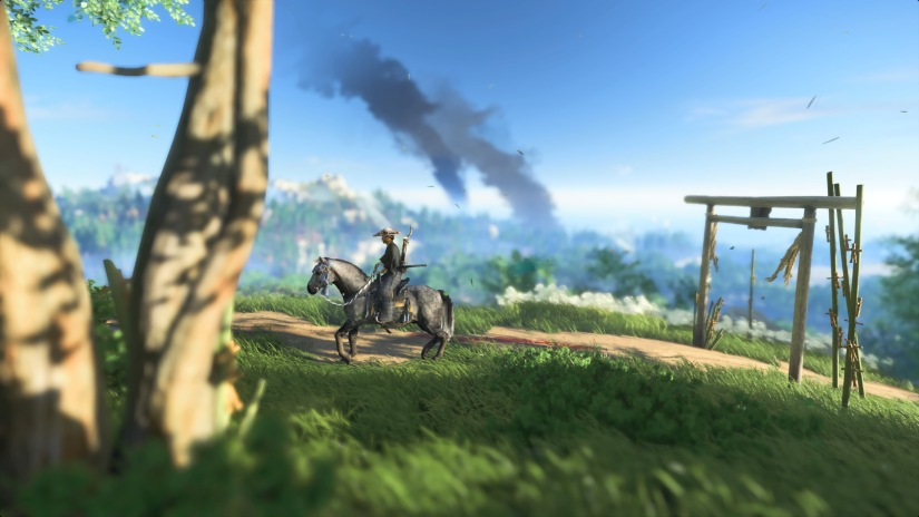 Jin riding Nobu on a hillside with smoke in the background, Ghost of Tsushima