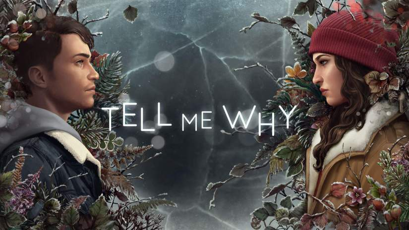 Tell Me Why poster, twins facing each other on either side