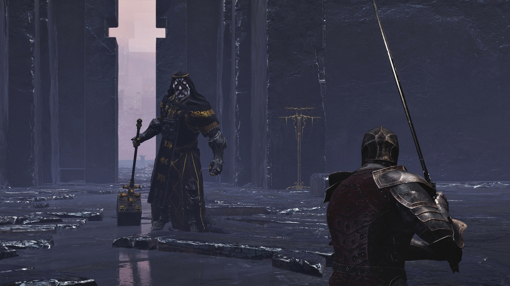 Screenshot from Mortal Shell, facing a Heavy Cultist enemy, sword in hand