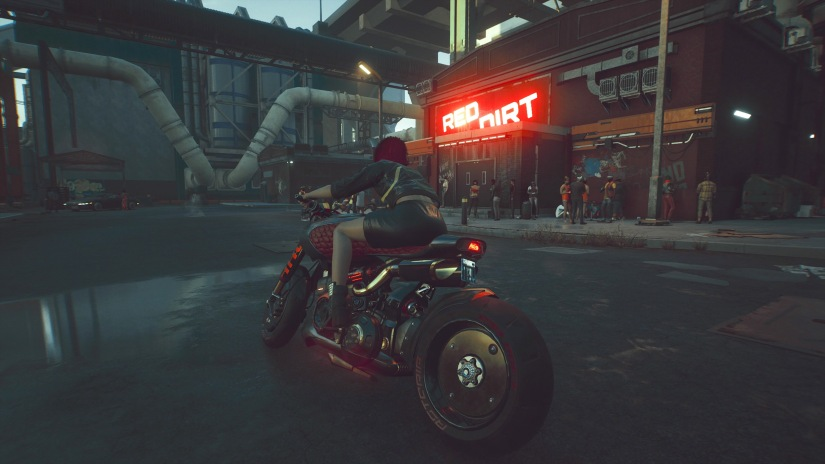 V on a motorcycle in Night City, Cyberpunk 2077 Photo Mode screenshot