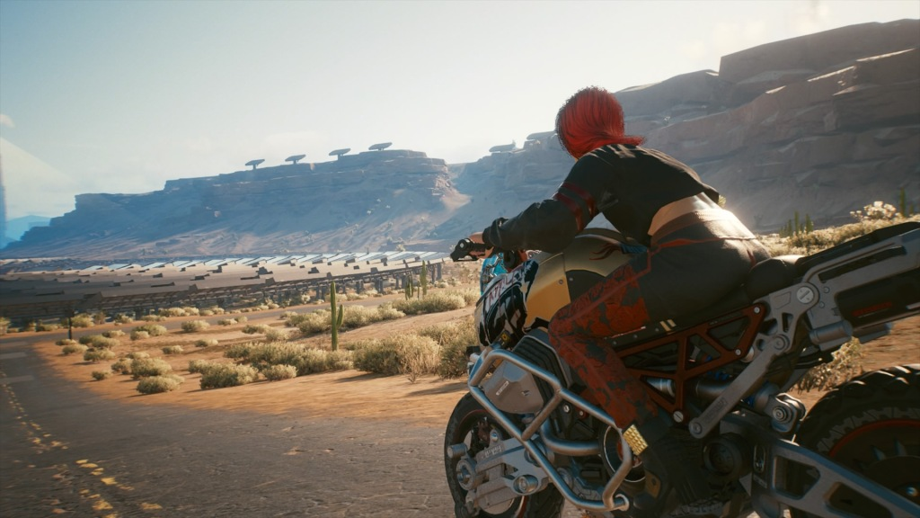 V on a motorcycle in the Badlands, Cyberpunk 2077