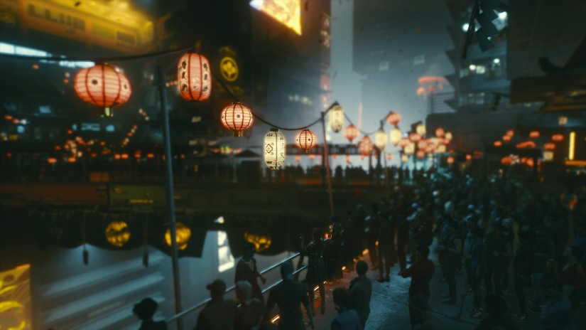 A festival of lanterns in Night City