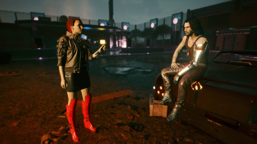 V talking to Johnny in knee-high red boots.